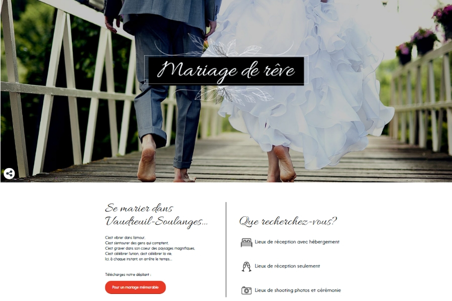 Page Mariage de rêve sur Explorevs.com