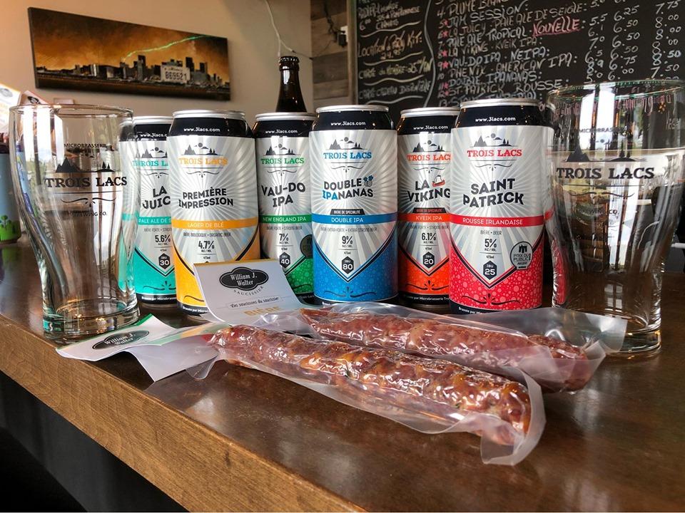 Ensemble de 6 bières dégustation et 2 saucissons + 2 verres Trois-Lacs
